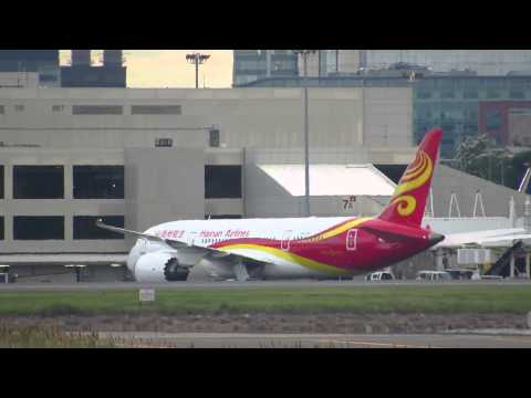 Hainan Airlines In Boston - Arrival, Taxi, Pushback, Takeoff [HD] - June 21, 2014