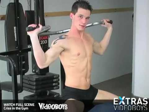 Young Muscle Jock Criss Shirtless Gym Workout