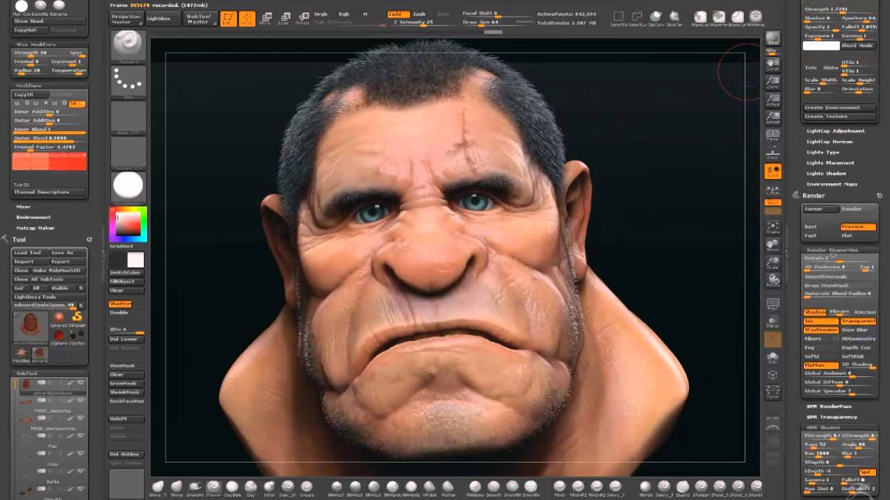 Rendering Images in Zbrush Pass Rendering in Zbrush