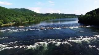 Aerial Video of New River Junction tubing and falls Blacksburg, VA