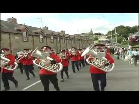 Armagh Old Boys Silver Band leading Armagh District Royal Black Preceptory at the Last Saturday in August Black Parade in Dungannon on Saturday 30th August 2003 playing the Blaze Away march.
