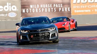 Camaro ZL1 battles and takes down Ferrari 488 GTB with wife in the car! TRACK DATE : )