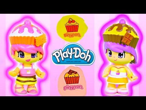 Play Doh Tattoos Pinypon Cupcake Cuties Famosa Mix Match Children Toys Plastilina Tatuajes