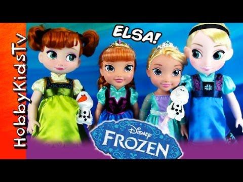 FROZEN ELSA + Anna Disney Dolls! Toy Review Olaf Bath Toys HobbyKidsTV