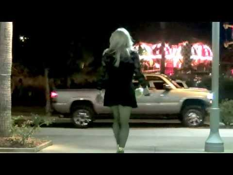 Tgirl Black Lace and Gold Rhinestones Outdoors (HD) Matty Caff Tgirl Crossdresser Transvestite