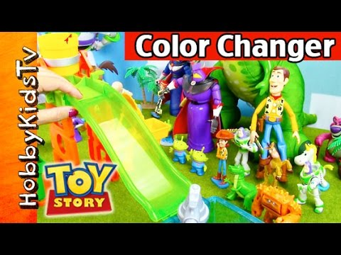 Toy Story COLOR CHANGER Toys! Slide 'n' Surprise Playground Set by HobbyKidsTV