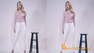 quần nữ lưng cao co giãn quần jean nữ big size màu trắng GLQ096