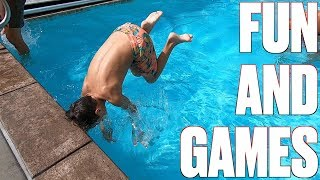 IT'S ALL FUN AND GAMES UNTIL SOMEBODY CRACKS THEIR HEAD ON THE SIDE OF THE POOL DOING A BACKFLIP!