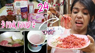 I only ate PINK food for 24 HOURS challenge!!!
