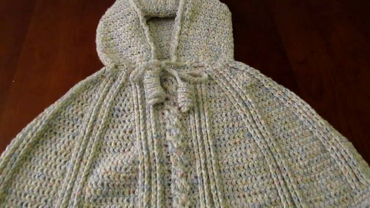 Free Crochet Pattern For Hooded Cape : Crochet child hooded poncho with cable stitch - YouTube