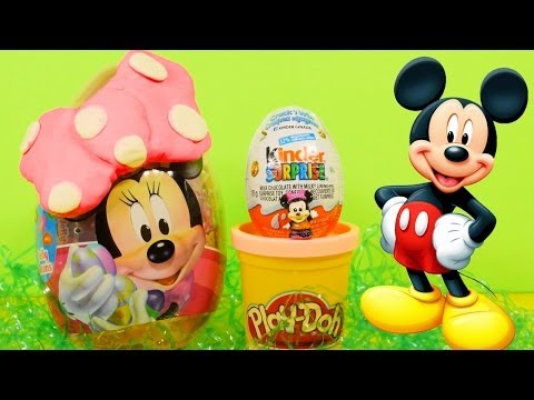 NEW Minnie Mouse Kinder Surprise PLAY DOH Egg and Polka Dot Playdough Bow Toons
