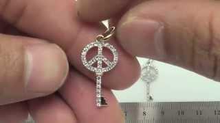 14K Gold 22mm Key / Peace Charm (37Pcs Diamond,0.16Cts)-PAF36376