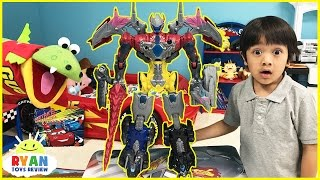 Power Rangers vs Justice League MegaZord battle Imaginext T-Rex Dinosaur SuperHeroes Toys Play