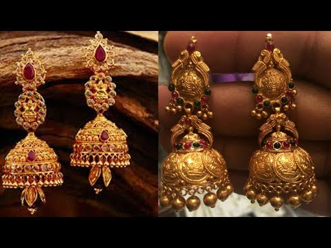 Latest Long Drop Gold Earring Designs - She Fashion