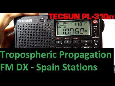 Tropospheric propagation FM DX - Spain stations received in Portugal - Tecsun PL-310ET