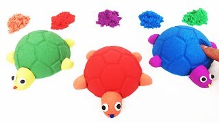Learn Colors How to Creatively Make Kinetic Sand Turtle Toy For Kids Pluto