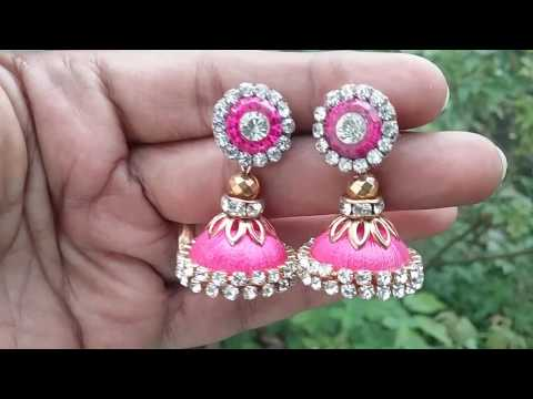 How to make party wear jhumkas at home, DIY silk thread beautiful jhumkas,jhumkas with earring studs