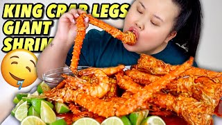 KING CRAB SEAFOOD BOIL WITH GIANT SHRIMP MUKBANG 먹방 EATING SHOW!