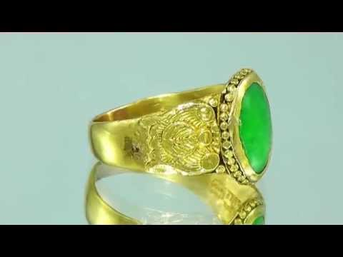 0 Antique Estate 22K Gold Oval Jade Cocktail Ring Shreveport Estate Jewelry