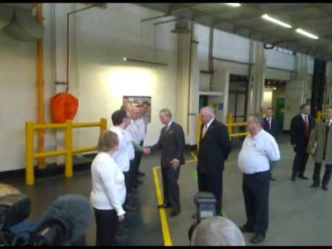 Prince Charles vists Vauxhall Motors car plant at Ellesm...