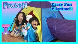 Ryan plays with PlayHouse Tent with Surprise Toys