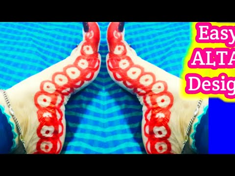 #Durga Pooja special Alta design with trick How to apply Alta with bottle cap