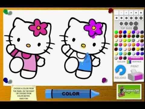 Juego colorear hello kitty youtube for Juegos de hello kitty jardin