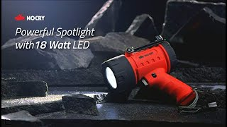 NoCry 18W Waterproof Rechargeable Flashlight (Spotlight) with 1000 Lumen LED, Detachable Red Filter