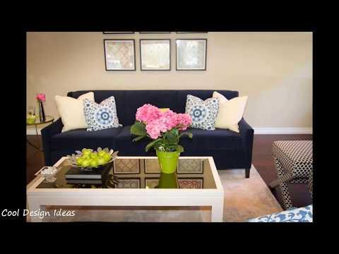 Living Room Ideas with Navy Blue Sofa