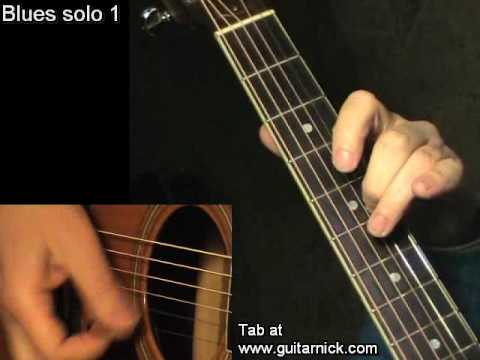 Blues solo 1 - flatpicking + TAB! Acoustic guitar lesson, learn to play