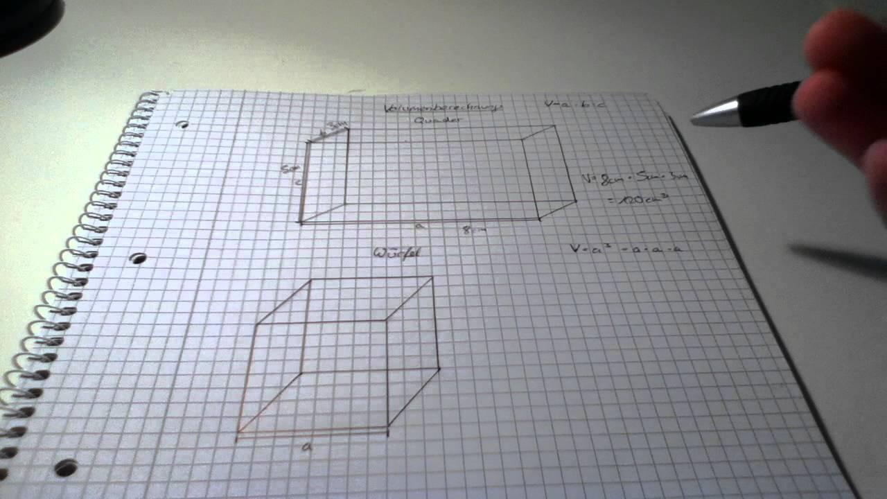 volumen eines quaders und eines w rfels berechnen mathe lernen youtube. Black Bedroom Furniture Sets. Home Design Ideas