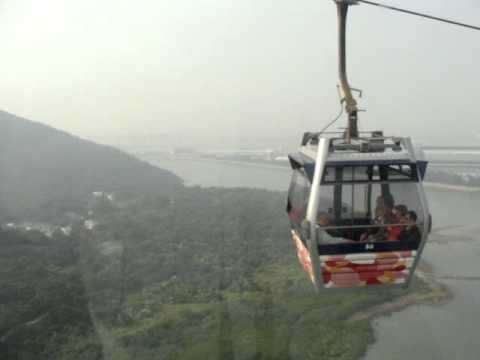 Ngong Ping 360 cable car. View of Chek Lap Kok airport.