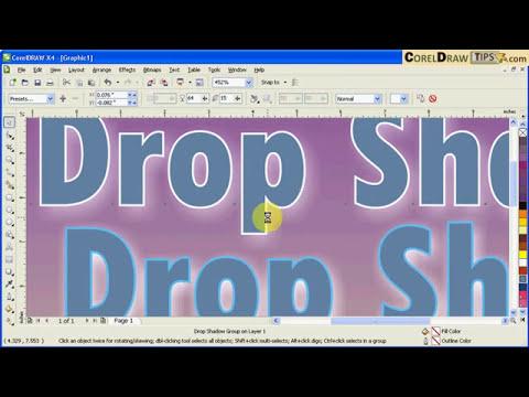 Using text drop shadow in CorelDraw