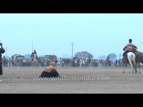Nihang exhibits horse riding skills at Kila Raipur sports festival 2012