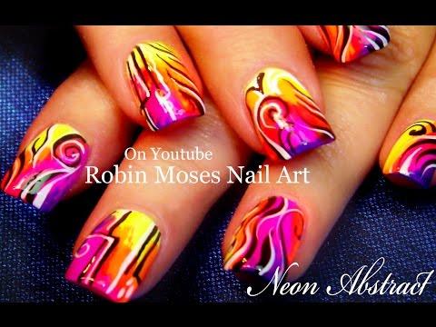 Nail Art Tutorial   Neon Abstract Nails   Hot & Trendy Nail Design video