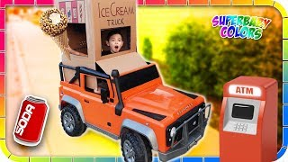 KIDS Pretend Play ICE CREAM Truck and ATM!!!