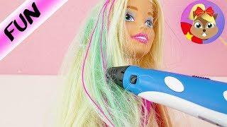 Bút 3D trang trí mái tóc cho cô nàng búp bê barbie xinh đẹp