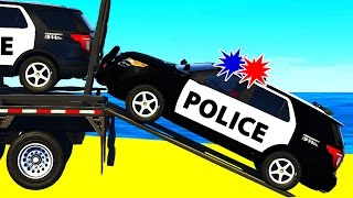 POLICE SUV CARS Transportation in Spiderman Cartoon for Children and Colors for Kids Nursery Rhymes