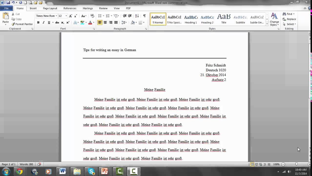 Writing an essay in german