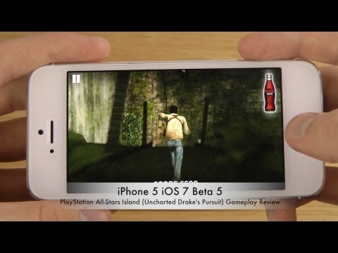 PlayStation All-Stars Island (Uncharted Drake's Pursuit) iPhone 5 iOS 7 Beta 5 Gameplay Review