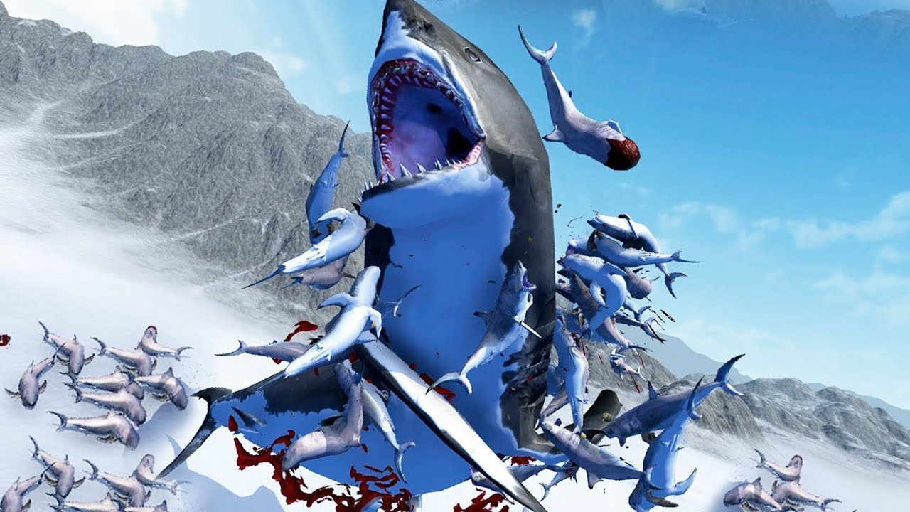 FLYING SHARKS vs MEGA-MEGALODON! - Beast Battle Simulator Gameplay | Pungence