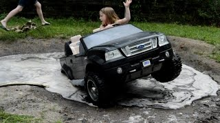 High Volts PW - Girls get Stuck in Powerwheels Ford F-150 - PowerWheels Mudding