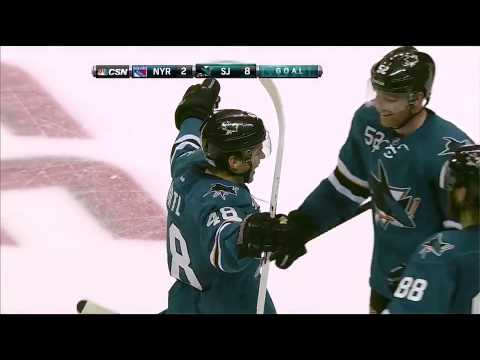 Tomas Hertl between the legs goal (4th of the night). Rangers vs. Sharks October 8, 2013