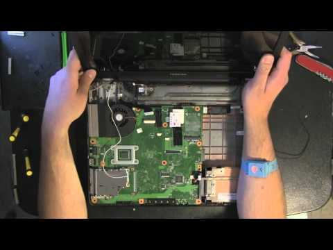 TOSHIBA L305 laptop take apart video. disassemble. how to open disassembly