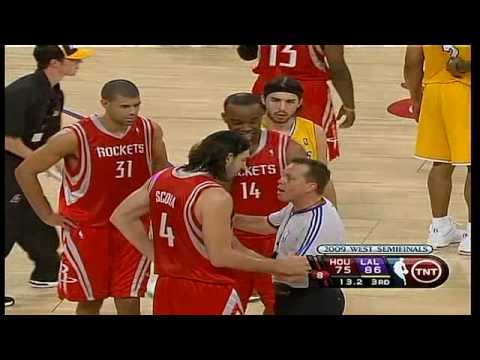 Houston Rockets VS Lakers:Fisher Flagrant Foul on Luis Scola Kobe Elbow to Artest Video