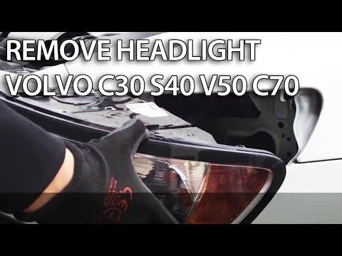 How to replace headlights in Volvo C30. S40. V50. C70 (light bulb change)