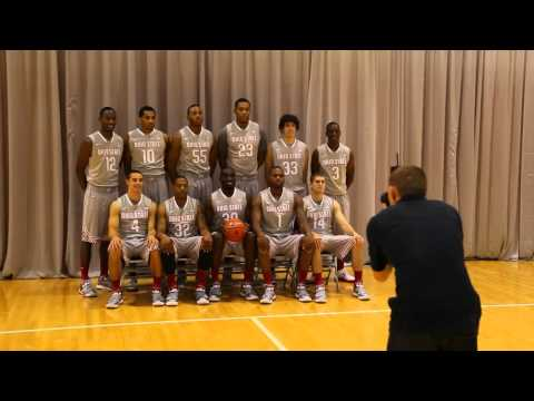 The men's basketball team gathered in the practice gym for pictures and interviews during media day.