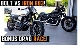 Harley Iron 883 or Yamaha Bolt? Put My Friend on Both - Ride Drag Race Which Would You Pick?