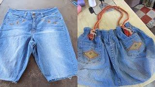 Reciclaje de Jeans: BOLSO grande con jeans reciclados