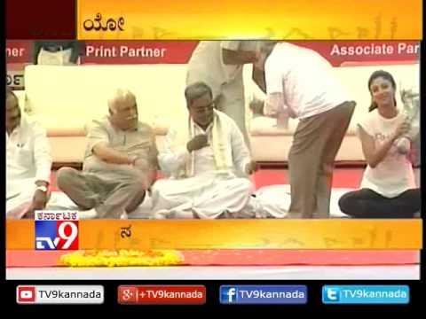 Bollywood Actress Shilpa Shetty Attended  International Yoga Day in Kanteerava Stadium